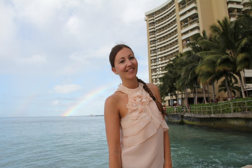 Rainbow Hawaii Waikiki Beach Girl