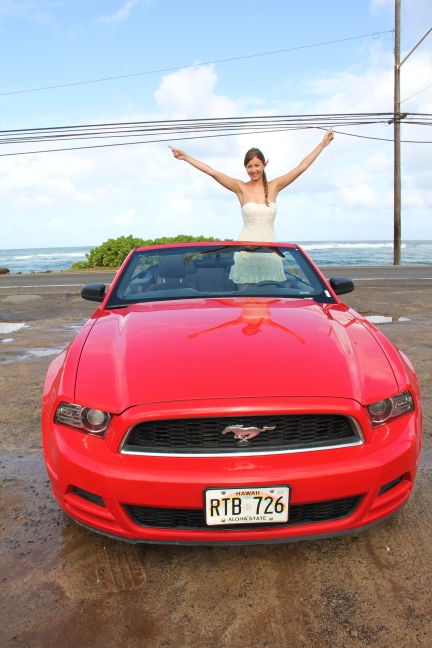 Hawaii girl Mustang convertible