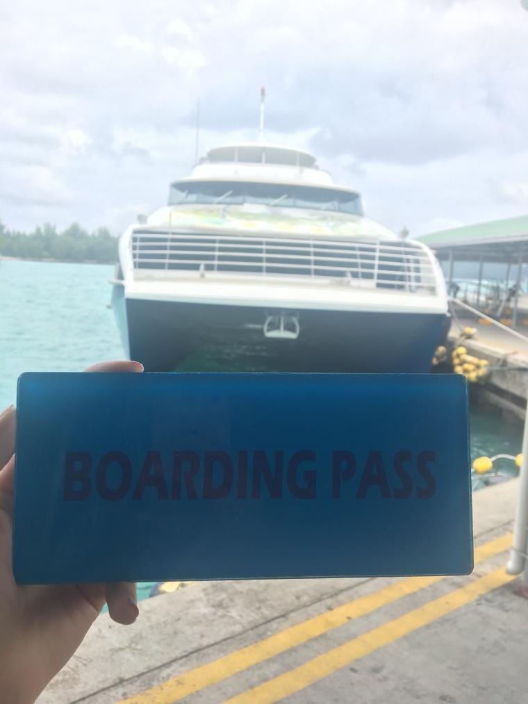 Seychelles ferry Praslin La Digue boarding pass